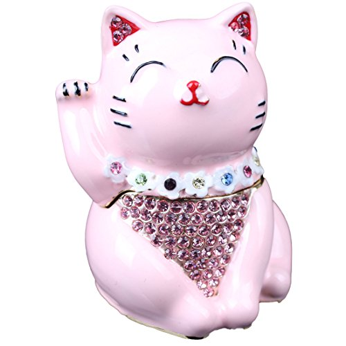 Hinged Jeweled Trinket Box Cute Japan Lucky Cat Jewelry Earring Holding Gift (Pink)