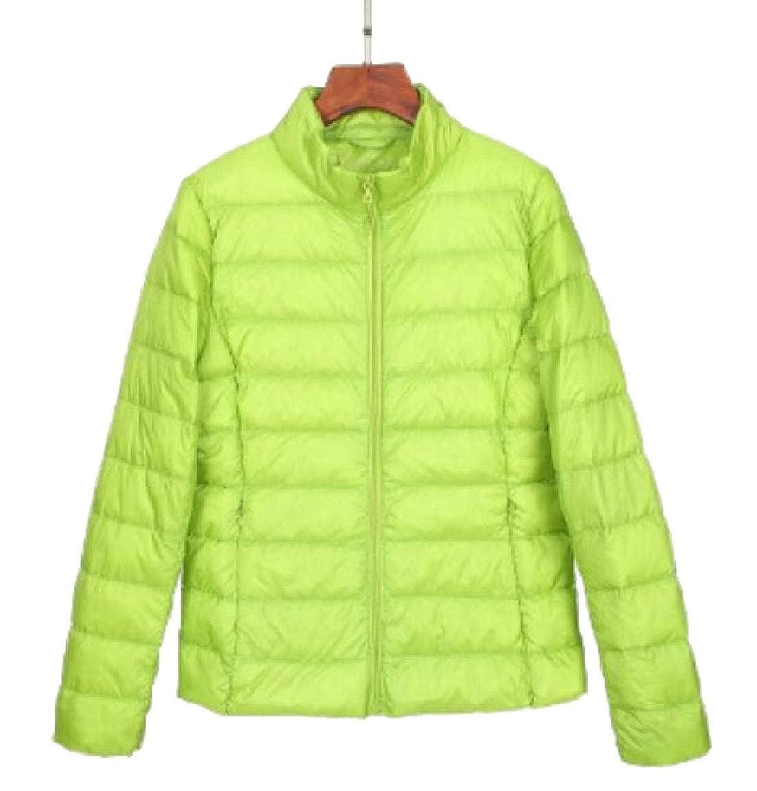 1 Qiangjinjiu Women Stand Collar Long Sleeve Lightweight Down Jacket Coat
