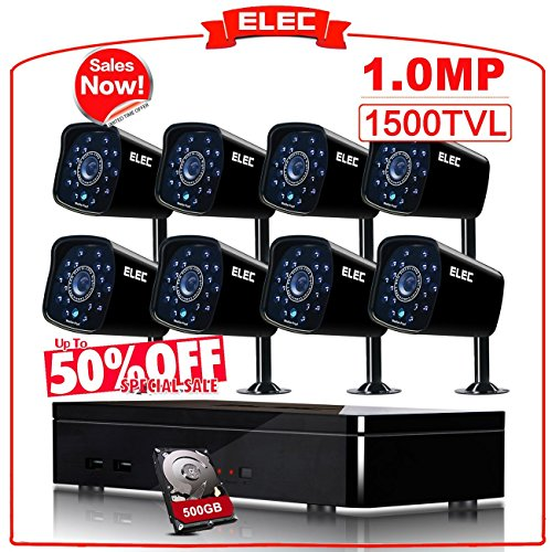 ELEC 8CH 960H DVR Security Camera System 8 Outdoor CCTV 1500TVL Bullet Cameras with 500GB Hard Drive