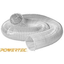 POWERTEC 70129 2-1/2-Inch x 10-Foot Flexible PVC Dust Collection Hose, Clear Color