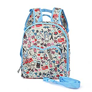 Little Kids Baby Girl Toddler Cute Backpack Preschool Nursery Bag with Safety Harness Leash for Children 1-4 Years Old (Blue)