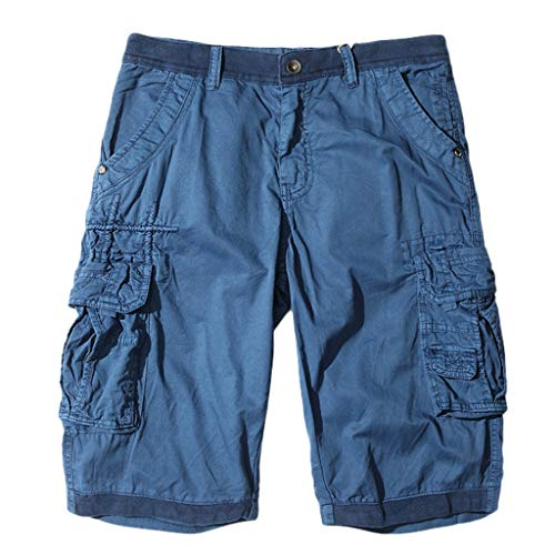 Men's Baggy Cargo Shorts,Clearance -Casual SOID Breathable Trousers Sim Fit Lightweight Beach Pants Muti Pockets