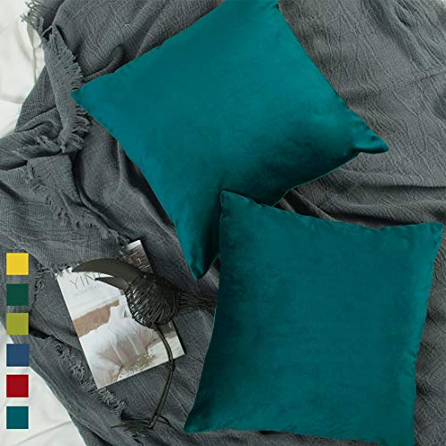 (YINFUNG Teal Velvet Pillow Cover 18x18 Peacock Blue Decorative Couch Pillow Case Soft Square Bedroom Sofa Living Room 2 Pack Dark Blue Toss Pillow Cover Cushion Cover Hunter Green Forest)