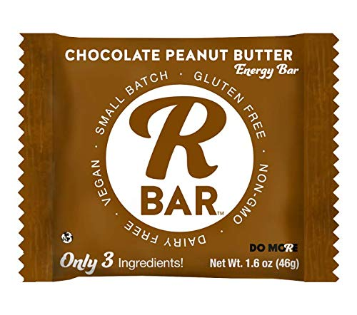 RBar Whole Food Chocolate Peanut Butter Energy Bar - Dairy & Gluten Free Snacks, Vegan Protein Bar - 3 Healthy Ingredients (10 Pack)