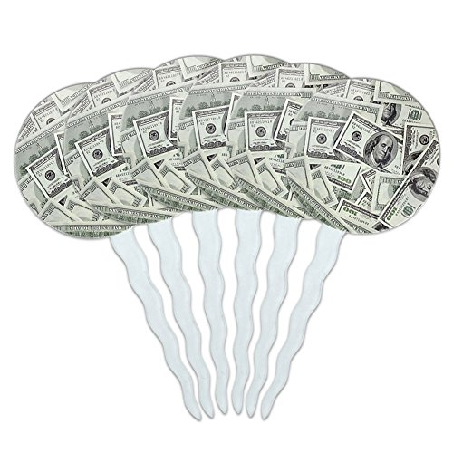 Set of 6 Cupcake Picks Toppers Decoration Symbols - Hundred Dollar Bills Money Currency