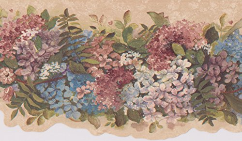 Blue Pink White Flowers on Vine Beige Floral Wallpaper Border Retro Design, Roll 15' x 6.5''