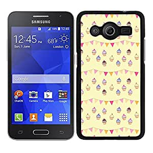 Funda carcasa para Samsung Galaxy Core 2 diseño estampado pasteles pastelitos rosa amarillo azul borde negro