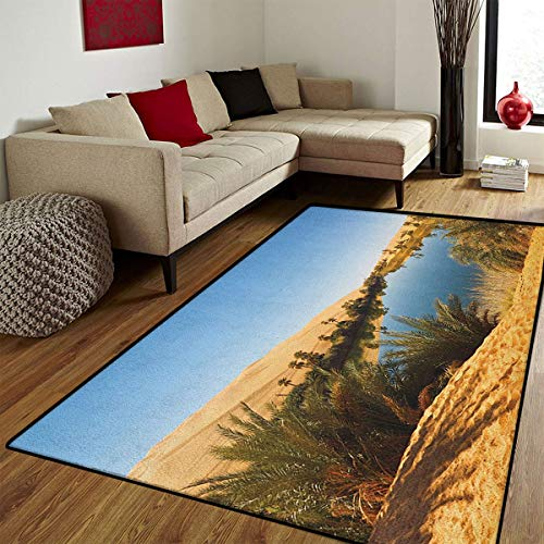 Sahara Small Rug - Desert,Door Mat Small Rug,Idyllic Oasis Awbari Sand Sea Sahara Libya Pond Lush Arid Country,Bath Mat 3D Digital Printing Mat,Pale Blue Green Sand Brown,3x5 ft