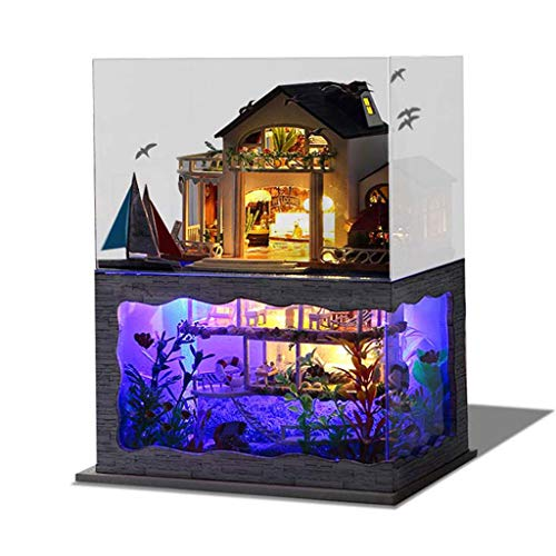 Gbell  Dollhouse Furnitures Set Wooden 3D Stereoscopic Puzzle Villa Models,Wooden DIY Handmade Miniature House LED Light House Playhouse Creative Assembly Doll Theater Craft for Adult