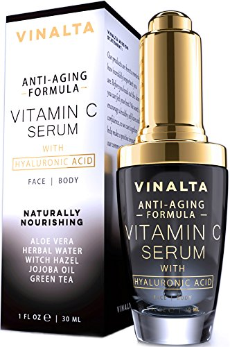 Vitamin C Serum with Hyaluronic Acid for Face by Vinalta, Aloe, CoQ10, Organic Jojoba Oil, Vitamin A, E, Anti Wrinkle, Dark Eyes, Age Spots, Best Anti Aging Skin Care 1 fl. oz.