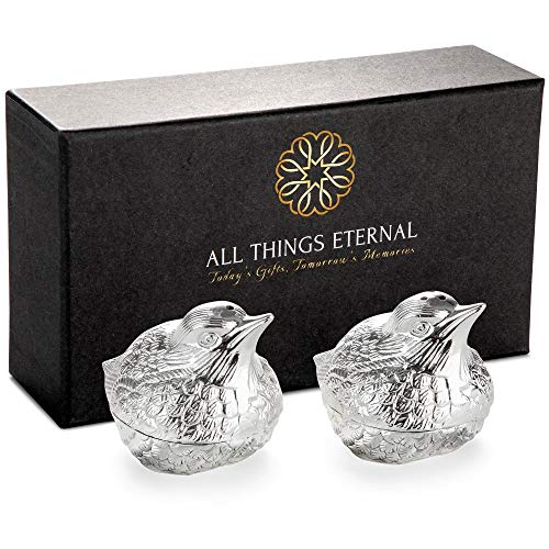 - Decorative Salt and Peppers Shakers, Set of 2, Silver Plated Metal - Mini S & P Holders for Weddings, Dinner Parties - Cute Kitchen and Dining Accessories - Love Bird Collection