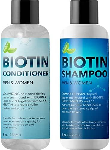 Biotin Shampoo and Conditioner Hair Loss Treatment for Thinning Hair - Hair Follicle Stimulator for Fuller Thicker Hair Growth - Revive Damaged Hair with Natural Jojoba Oil Argan Oil Sea Buckthorn