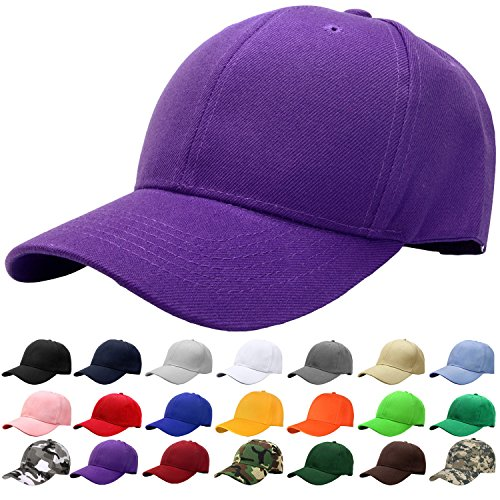 Purple Fitted Hat Cap - Falari Baseball Cap Adjustable Size Solid Color G001-26-Purple