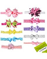 Bundle Monster 10 pc Baby Girls Bow Ribbon Elastic Lace Hair Band Headbands