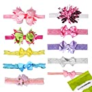Bundle Monster 10 pc Baby Girls Assorted Design Soft Bow Ribbon Elastic Lace Hair Band Headbands - Set 1: Sweet Sensation