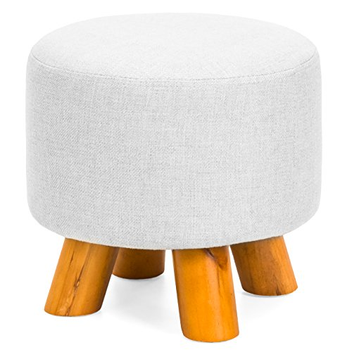 Best Choice Products Upholstered Padded Pouf Ottoman Footrest Stool w/Removable Linen Cover, Non-Skid Legs - Light Gray (Ottoman Pads)