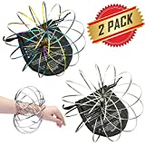 ELifeBox 2 PACK Silver and Colorful Flow Rings Set - Flow Rings Kinetic Spring Bracelet, Multi Sensory Interactive 3D Shape Flow Ring For Kids Teens Adults, Spinning Metal Globe Slides Down Arms