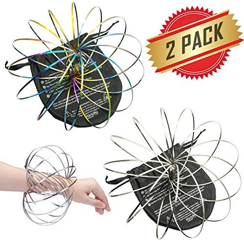 ELifeBox 2 PACK Silver and Colorful Flow Rings Set - Flow Rings Kinetic Spring Bracelet, Multi Sensory Interactive 3D Shape Flow Ring For Kids Teens Adults, Spinning Metal Globe Slides Down Arms by ELifeBox