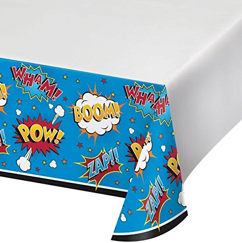 Creative Converting Superhero Slogans Printed Plastic Tablecover Party Supplies, Multicolor