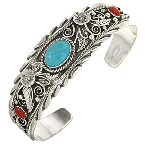 Navajo Turquoise Coral Silver Cuff Sterling Bracelet - Turquoise Sterling Bracelet Navajo Silver