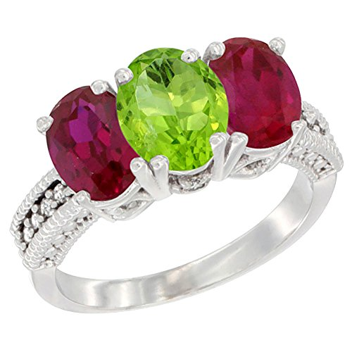 14K White Gold Natural Peridot & Enhanced Ruby Ring 3-Stone Oval 7x5 mm, size 8