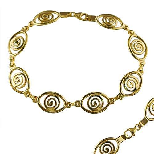 24k Gold Plated Sterling Silver Spiral Eye Shaped Bracelet