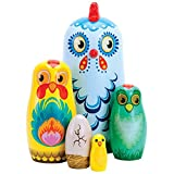 Bits and Pieces - ''Hazel & Friends Nesting Chickens - Hand Painted Wooden Nesting Dolls - Matryoshka - Set of 5 Dolls from 5-1/2'' Tall