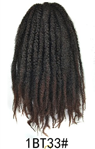 Marley Afro Braid Ombre Hair Extensions, Kinky Curly Bulk Twist Crochet Braids 32 Strands/ Pack, 100g (Black to Dark Auburn 1BT33) (Two Twists Strand)
