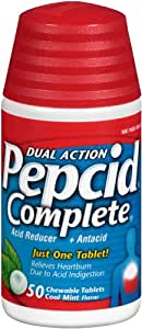 Pepcid Complete Acid Reducer + Antacid with Dual Action, Cool Mint, 50 Chewable Tablets