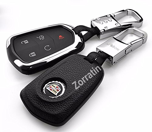 luxury-real-leather-shield-key-case-shell-cover-w-chrome-chain-fit-cadillac-esv-escalade-cts-xts-srx