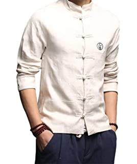 cecd7c6cdb3 Cafuny Mens Vintage Tai Chi Linen Stand Collar Frog Buttons Shirt