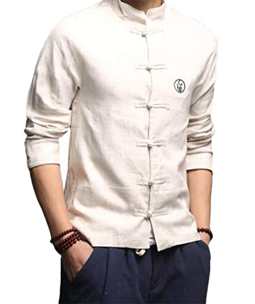 475748fe8b4bd Cafuny Mens Vintage Tai Chi Linen Stand Collar Frog Buttons Shirt XS Beige