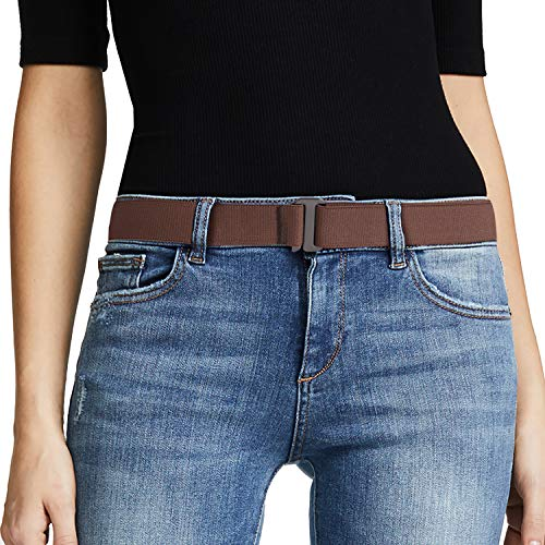 No Show Women Stretch Belt Invisible Elastic Web Strap Belt with Flat Buckle for Jeans Pants Dresses