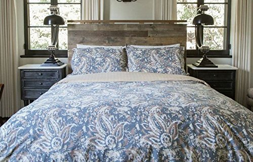 Thread Experiment Luxurious Paisley Duvet Cover and Pillow Shams for Men, Grey / Brown, Full / Queen
