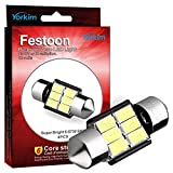 "Yorkim® 4x 31mm (1.25"") 6-smd 5730 Dc 12v Super Bright Festoon White LED Bulbs, Fit for 3157 LED, De3157 Bulb, De3175 Super White Bulb (Pack of 4)"