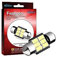 """Yorkim® 4x 31mm (1.25"""") 6-smd 5730 Dc 12v Super Bright Festoon White LED Bulbs, Fit for 3157 LED, De3157 Bulb, De3175 Super White Bulb (Pack of 4)"""