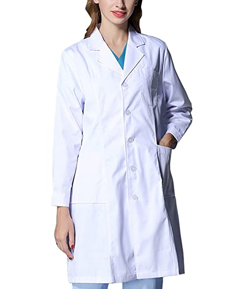 Amazon.com: nideen Mujer Blanco uniformes Lab abrigos ...