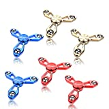 Fidget Spinner 6 Pack All Metal Finger Toys - EDC Hand Tri-Spinner Fidget Stress Relief Toys for Adults and Kids - Cool Figit Spinners (6PACK)