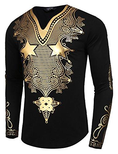 JINIDU Men's African Dashiki Shirt Metallic Floral Printed Tops Blouse by JINIDU (Image #2)