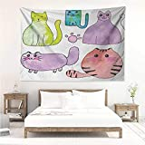 alisos Kitten,Trippy Tapestries Hand Drawn Colorful Cartoon Style Print Cute Domestic Cats Pets Paws in Watercolors 60W x 51L inch Art Nature Home Decorations Multicolor
