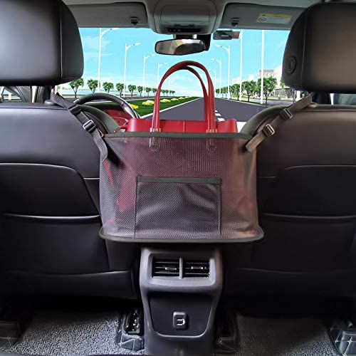 BXKM Car Net Pocket Handbag Holder,Car Mesh Organizer,Car Backseat Organizer,Car Seat Organizer,Seat Back Net Bag,Handbag Holder for Car,Car Organizer for Purse Phone Documents