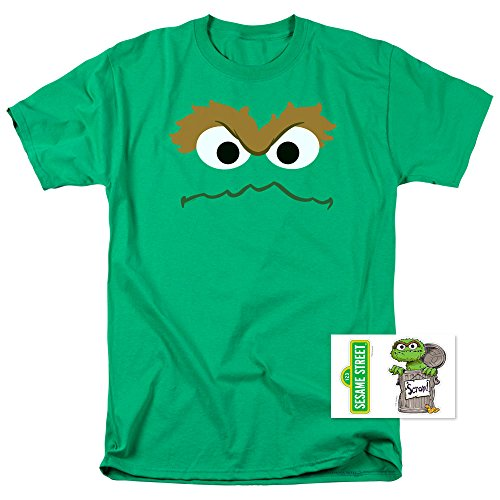 Sesame Street Oscar The Grouch Face T Shirt (X-Large)