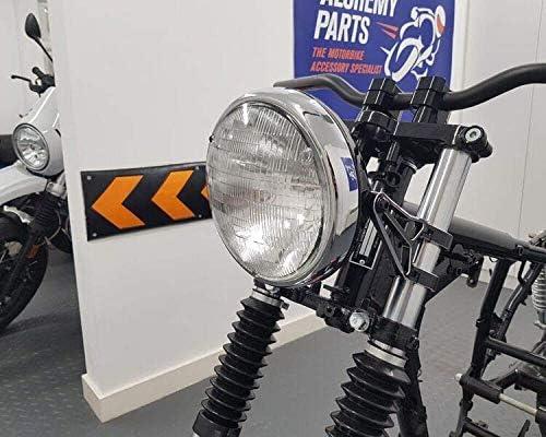 Moto 7.7  Faro Nero Lucido 12v 55w per Cafe Racer /& Scrambler Leggero