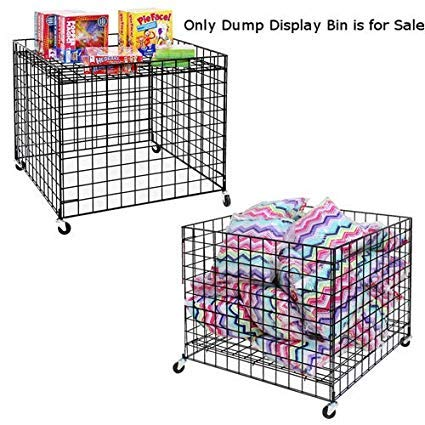 Dump Display Bin in Black 37.5 Inch with Adjustable Bottom and Casters