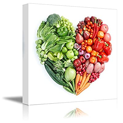 Canvas Prints Wall Art - Heart Shape Formed by Various Vegetables and Fruits | Modern Wall Decor/Home Decoration Stretched Gallery Canvas Wrap Giclee Print & Ready to Hang (24