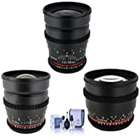 Rokinon T1.5 Cine 3 Lens Kit for Canon EF-Mount Consists of 24mm T1.5, 35mm T1.5, 85mm T1.5 lenses, Cleaning Kit