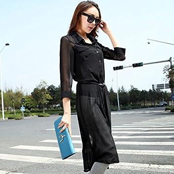 YY blusa tela de chifón de seda en verano... Super Robe sol Uni