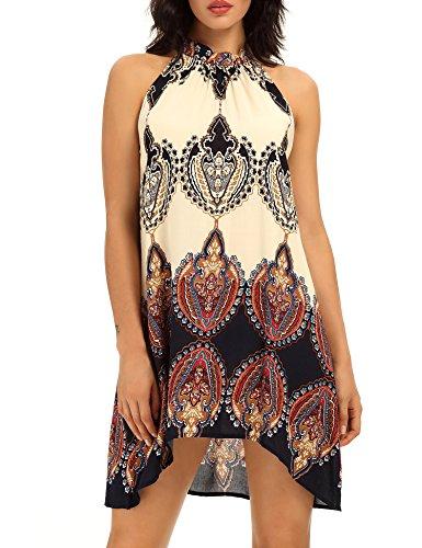 Celltronic Women's Casual Sleeveless Halter Neck Boho Print Mini Dress Sundress