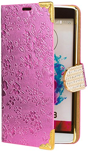 iCues | Compatible with LG G3 | Chrome Flower Wallet Pink | [Screen Protector Included] Floral Folio Flip Case Crystal Diamond Rhinestone Bling Glitter Women Girl (Lg G3 Phone Case With Rhinestones)