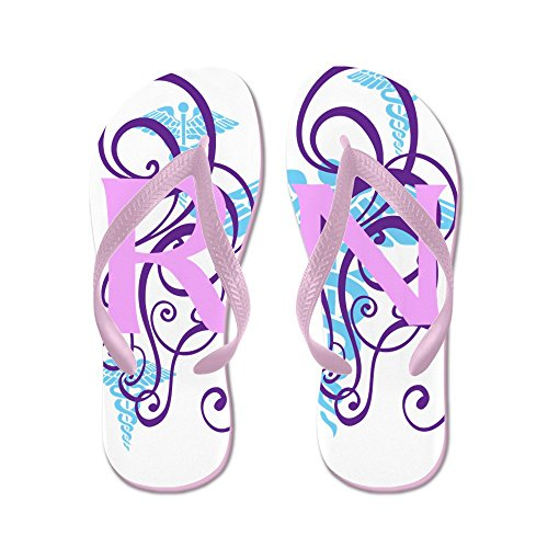 Cafepress Rn - Roze Paarse Flip Flops - Slippers, Grappige Leren Sandalen, Strand Sandalen Roze